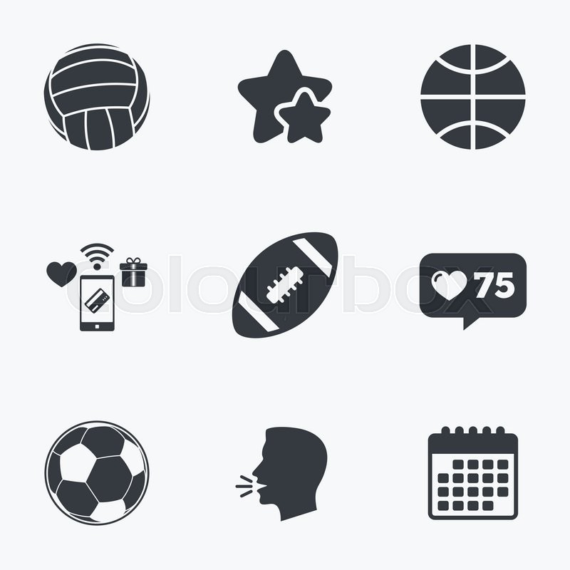 Sport balls icons. Volleyball, Basketball, Soccer and American football signs. Team sport games. Flat talking head, calendar icons. Stars, like counter icons. Vector, vector