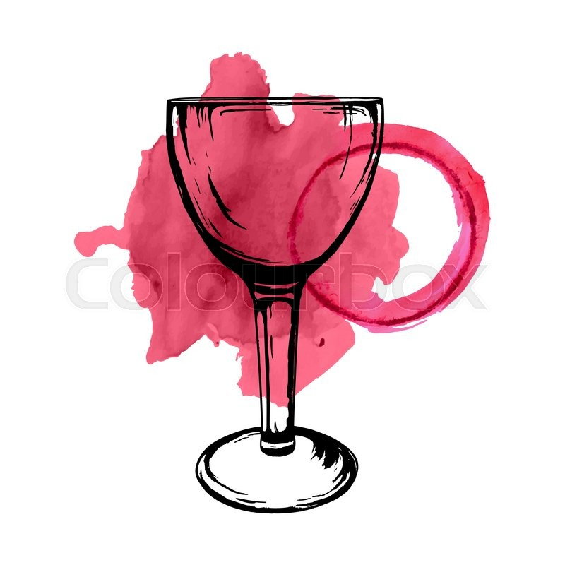 vector illustration of wine glass sketch with spilled wine stains