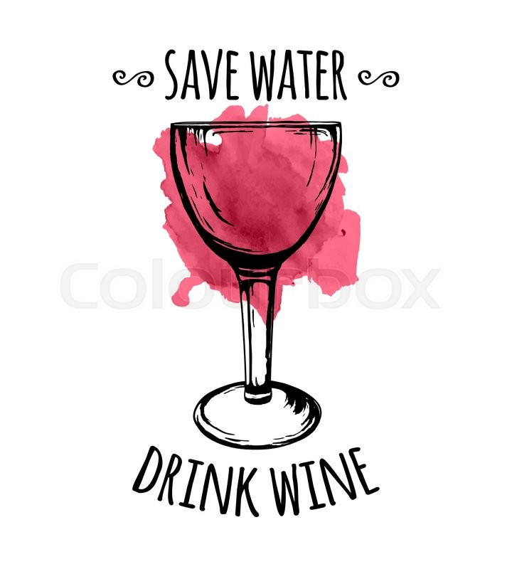 vector illustration of wine glass sketch with spilled wine stain and