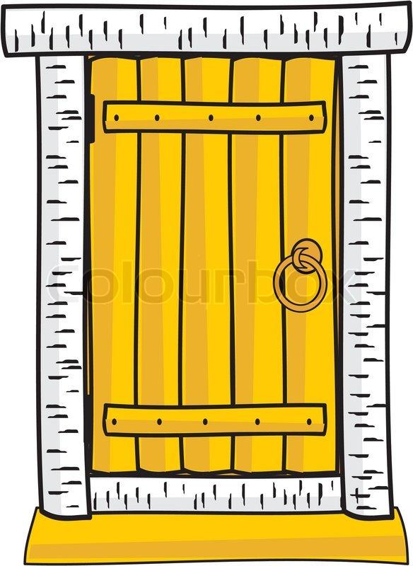 Wooden Cabin Doors Door Isolated Cartoon Style Clip Art Stock Vector