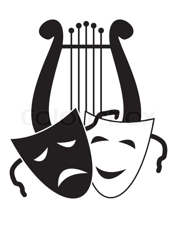 lyre and masks symbols of music arts and theater