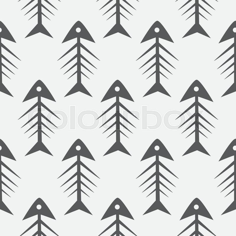 fish bone monochrome seamless vector pattern black and white