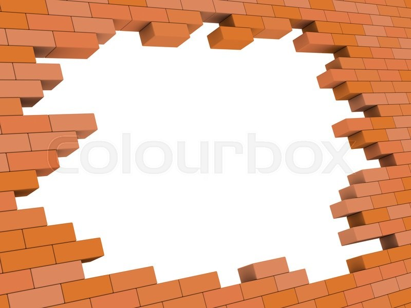 Abstract 3d illustration of brick wall hole frame template | Stock ...