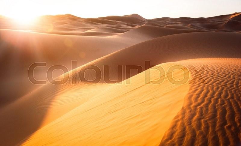 Beautiful sand dunes in the Sahara. Morocco, Africa, stock photo