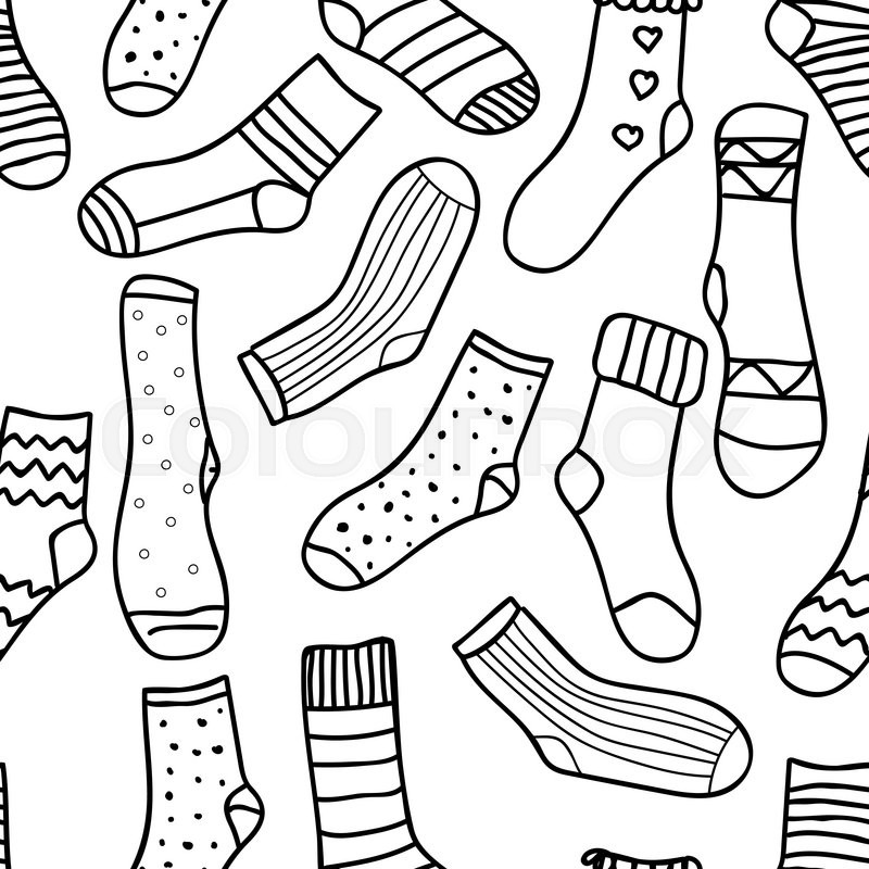 Vector monochrome background hand drawn ornament template for template for wallpaper postcard or adult coloring book doodle socks design backdrop footwear funny objects illustration stock vector colourbox voltagebd Gallery