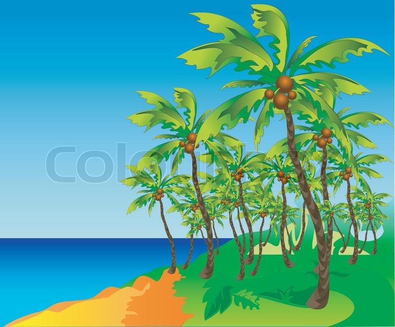 Tropical Island Cartoon: Highly Detailed Cartoon Background, Tropical