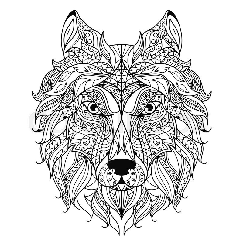 Stock Vector Of Stylized Wolf Head Isolated On White Background Image For Coloring Book