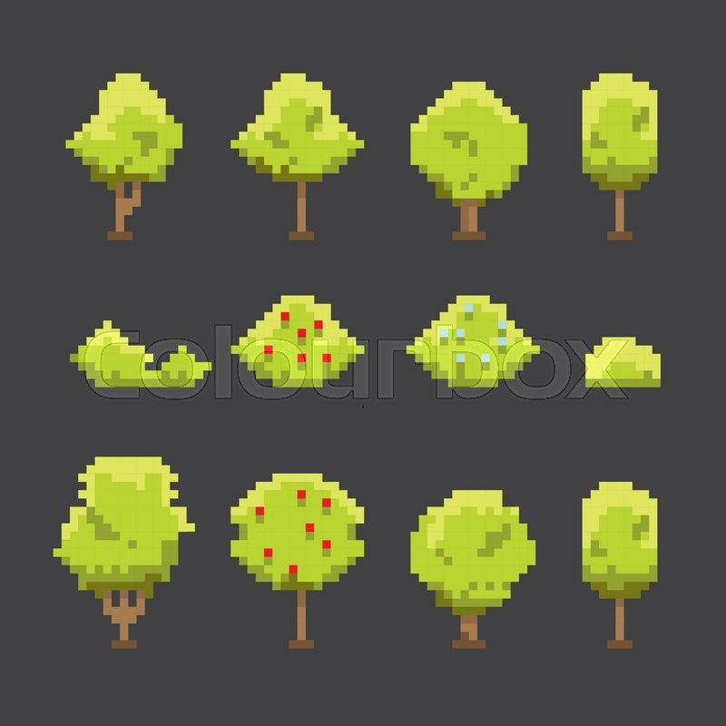 Pixel Art Trees Collection Isolated On Stock Vector