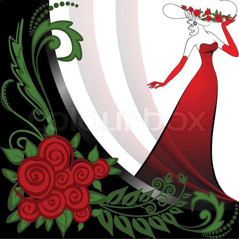 Long Dress on Woman In A Long Red Dress In Black And White Background With Roses
