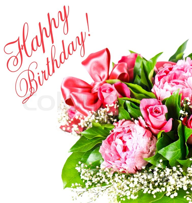 pink roses happy birthday card concept  stock photo