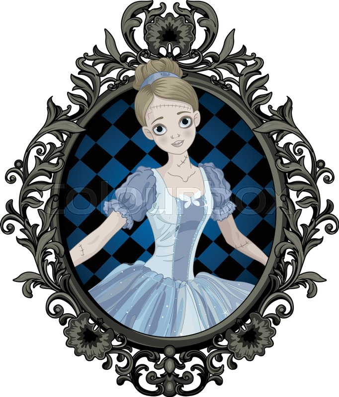 Illustration Of Halloween Cinderella Into Picture Frame Stock