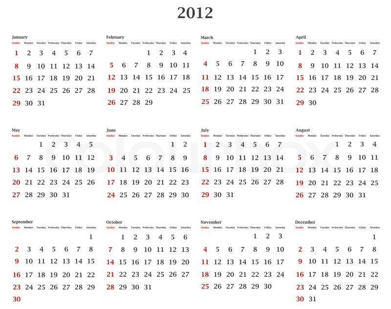 Illustration der horizontalen 2012 Kalendervorlage   Stockfoto ...