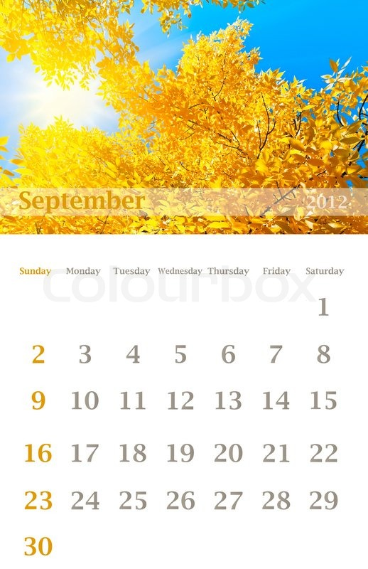 Page of 2012 September month wall calendar (size 11x17 inch) with ...