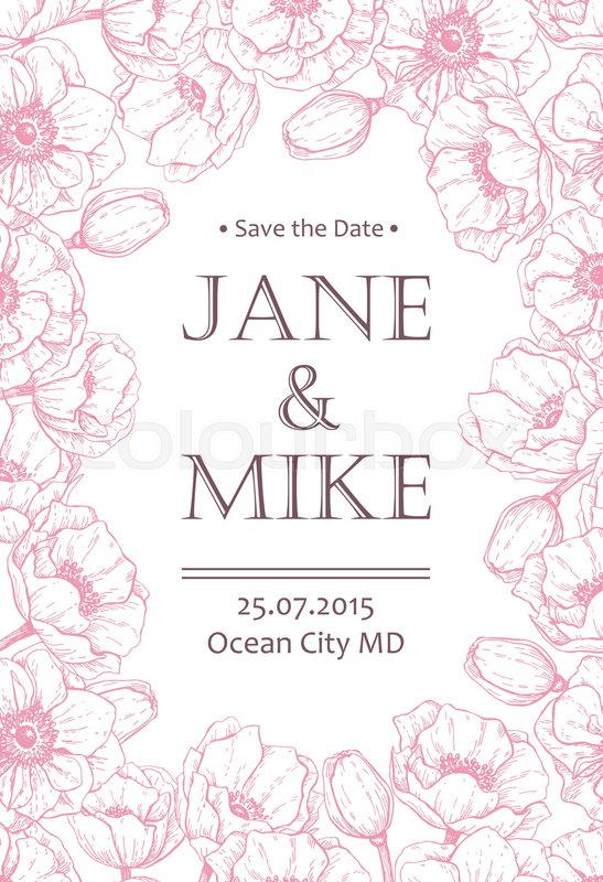 Vintage elegant wedding invitation card template with anemone flower ...