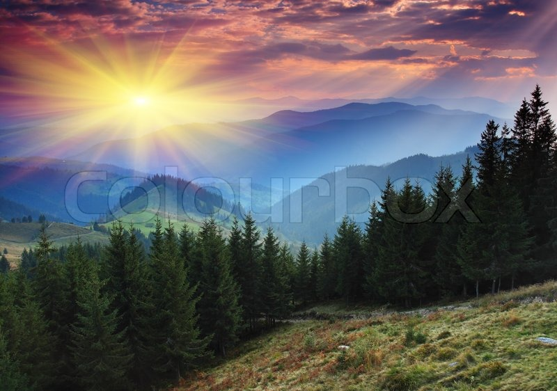 magnificent mountain sunset hdr - photo #19