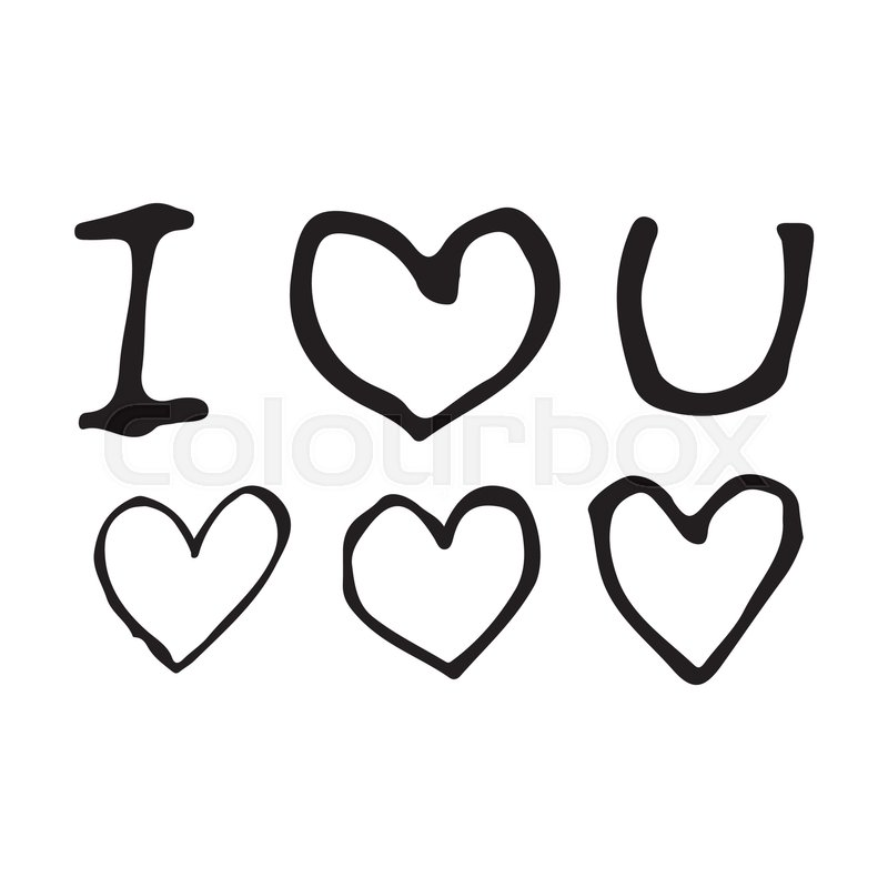 Doodle I Love You With Heart Icon Drawing Illustration Design
