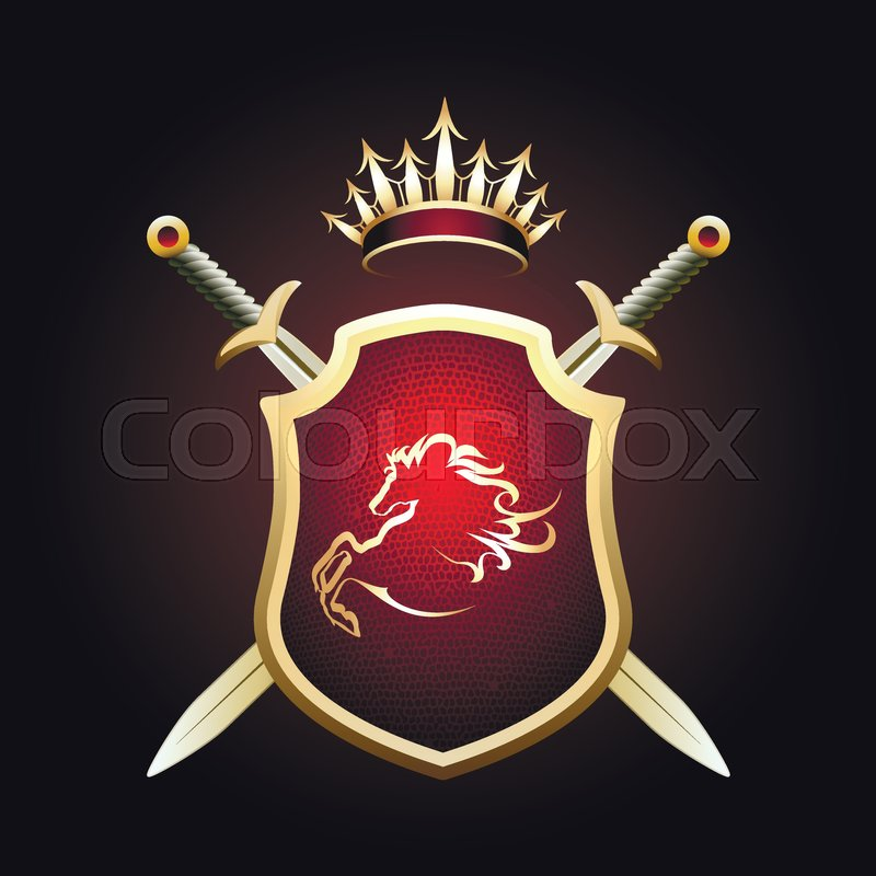 Coat of Fame or coat of arms with two     | Stock vector