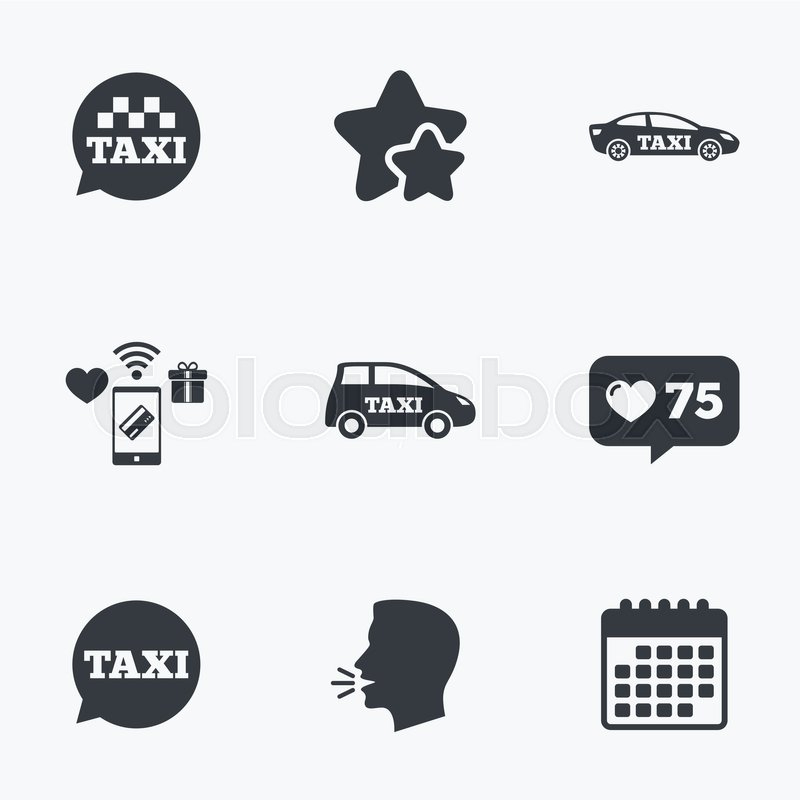 Public transport icons. Taxi speech bubble signs. Car transport symbol. Flat talking head, calendar icons. Stars, like counter icons. Vector, vector