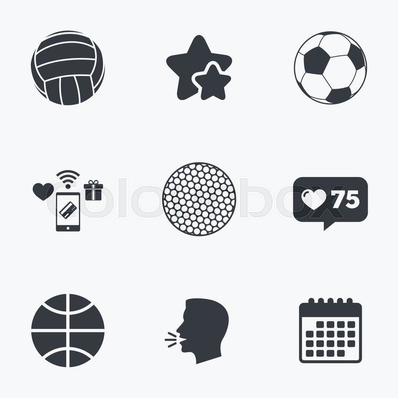 Sport balls icons. Volleyball, Basketball, Soccer and Golf signs. Team sport games. Flat talking head, calendar icons. Stars, like counter icons. Vector, vector