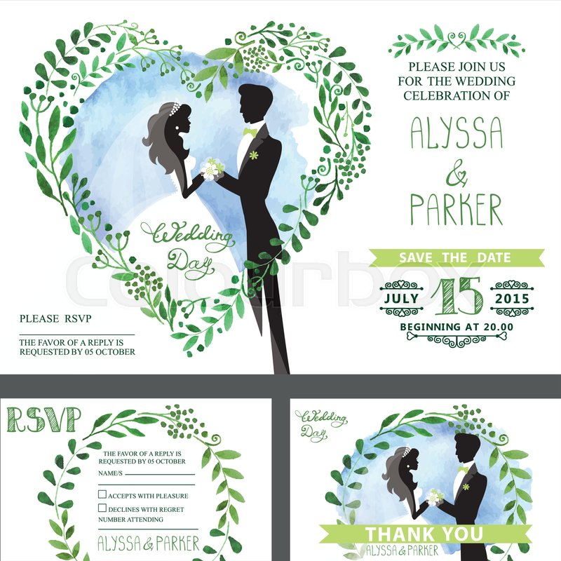 Wedding invitation setwatercolor green branches with couple bride stock vector of wedding invitation setwatercolor green branches with couple bridegroom stopboris Gallery