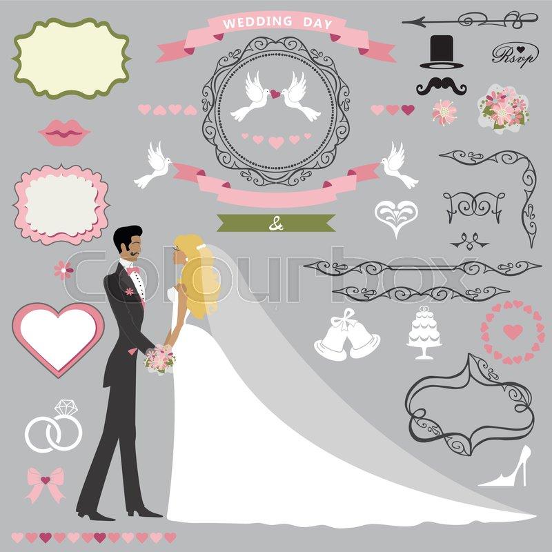Wedding invitation card decor set.Cartoon couple bride and groom ...