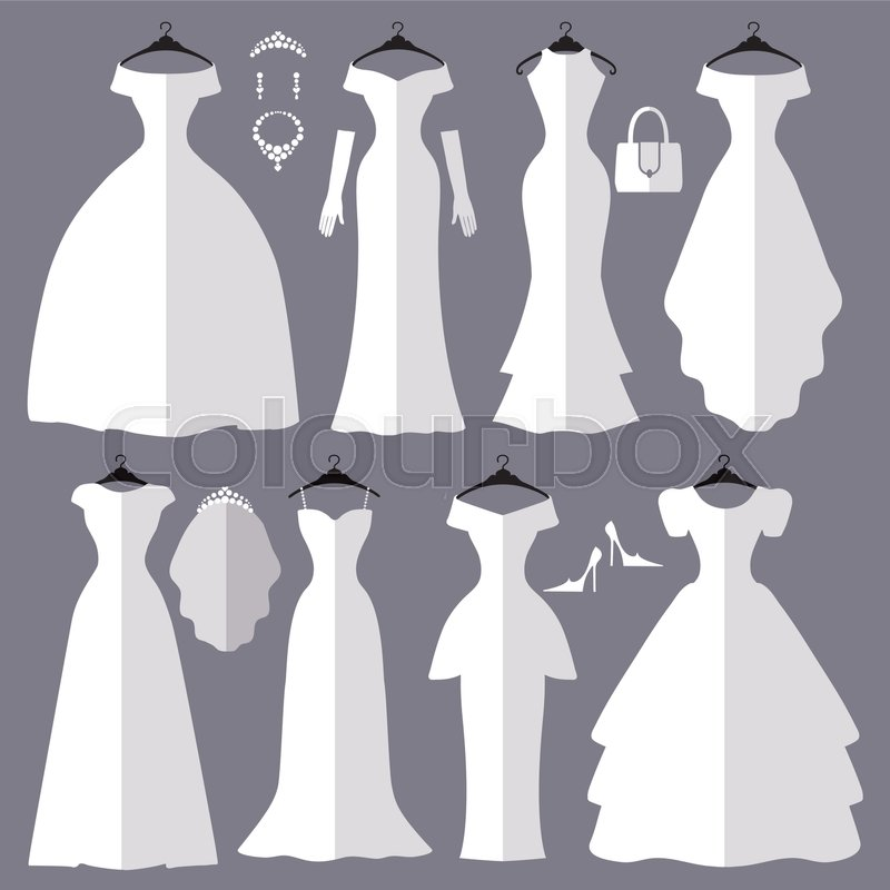 Wedding dresses in Different styles.Flat icons.Fashion bride Dress ...
