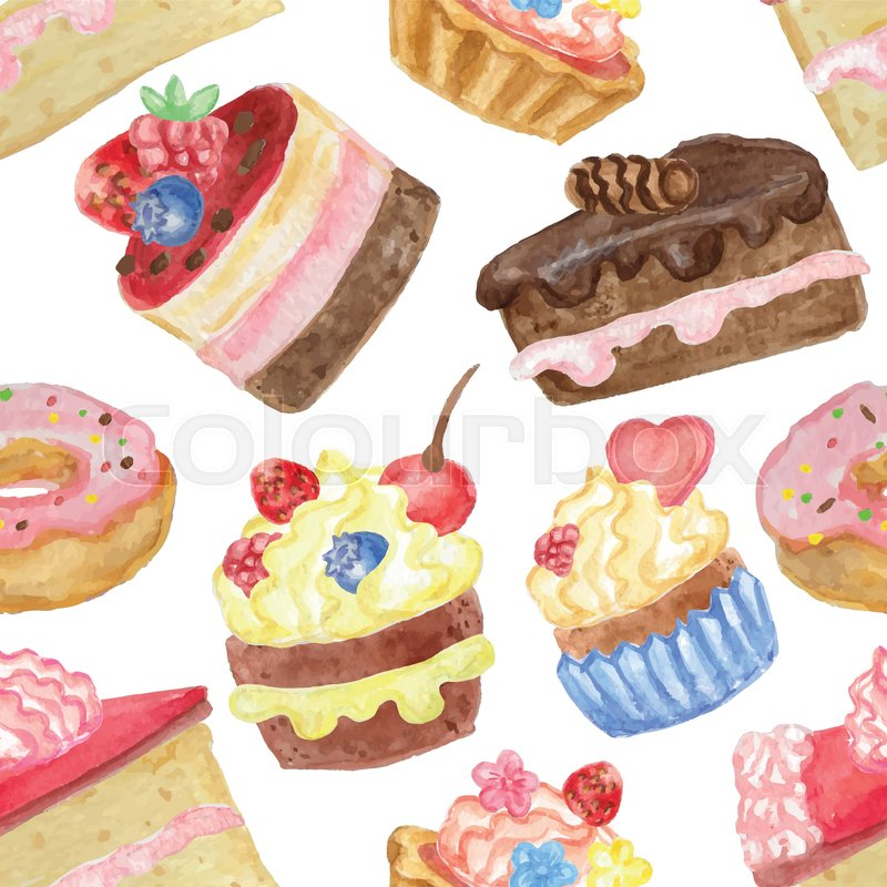 Watercolor Sweet Cakescupcakesdonut Seamless Pattern Vintage Cute Wallpaperfabricbackdrop And OrnamentHand Painted Vector Illustration