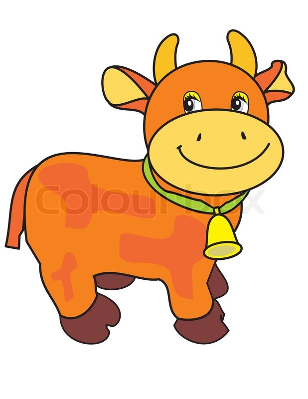 small ridiculous cow with bell on green strap isolated cartoon