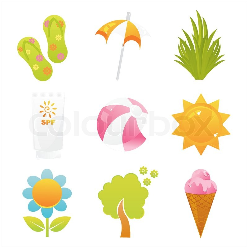 Set of 9 summer icons | Stock Vector | Colourbox