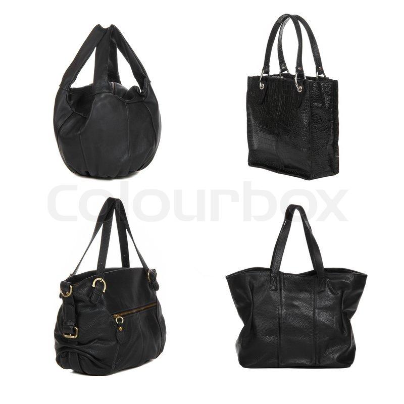 Sæt af sort læder kvindelige poser | Stock foto | Colourbox