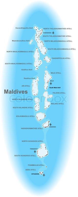 Kort Over Maldiverne Stock Vektor Colourbox