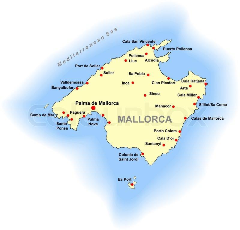 mallorca karte Mallorca Karte | Vektorgrafik | Colourbox mallorca karte