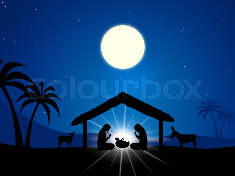 Jesus Manger Showing Birth Of Christ And Christianity, stock photo