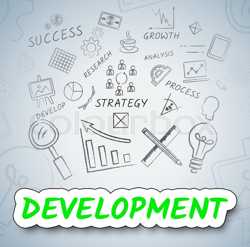 Development Icons Meaning Growth       Stock image   Colourbox