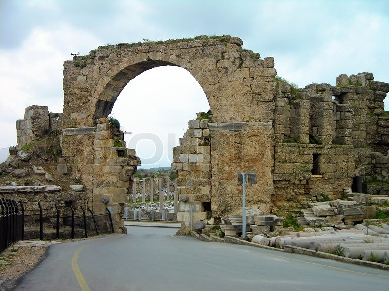 Ruins Of The Ancient City Town Entrance Gate Side