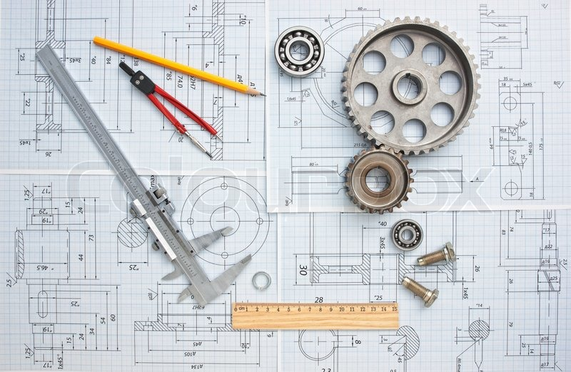 Technical drawing and tools, stock photo