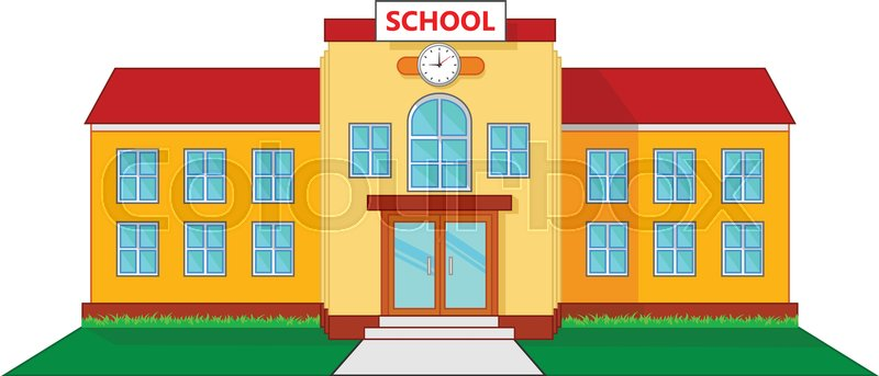 vector illustration of school building cartoon stock vector rh colourbox com cartoon school building drawing cartoon high school building