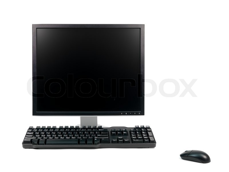 A desktop computer isolated against a white background, stock photo