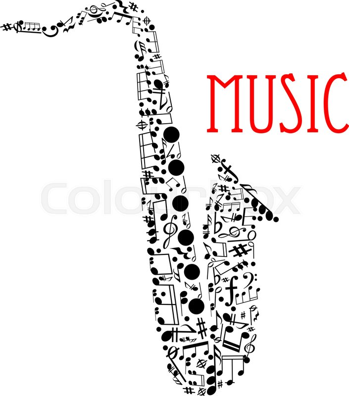 Musical Notes Forming Silhouette Of A Saxophone With Notes And