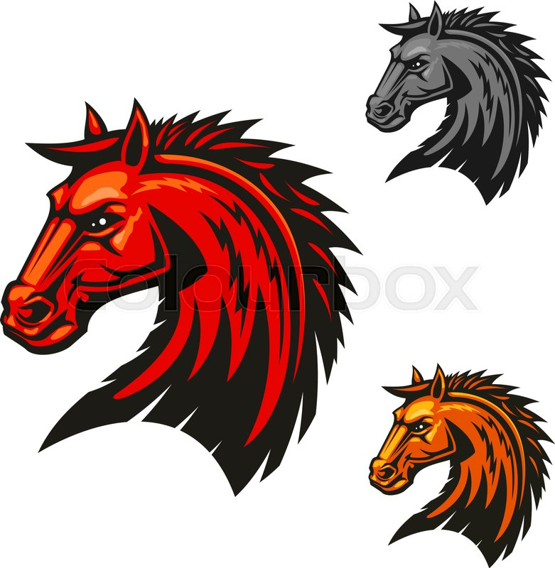 Horse Stallion Head Icons Stallion With Red Mane Vector Emblems