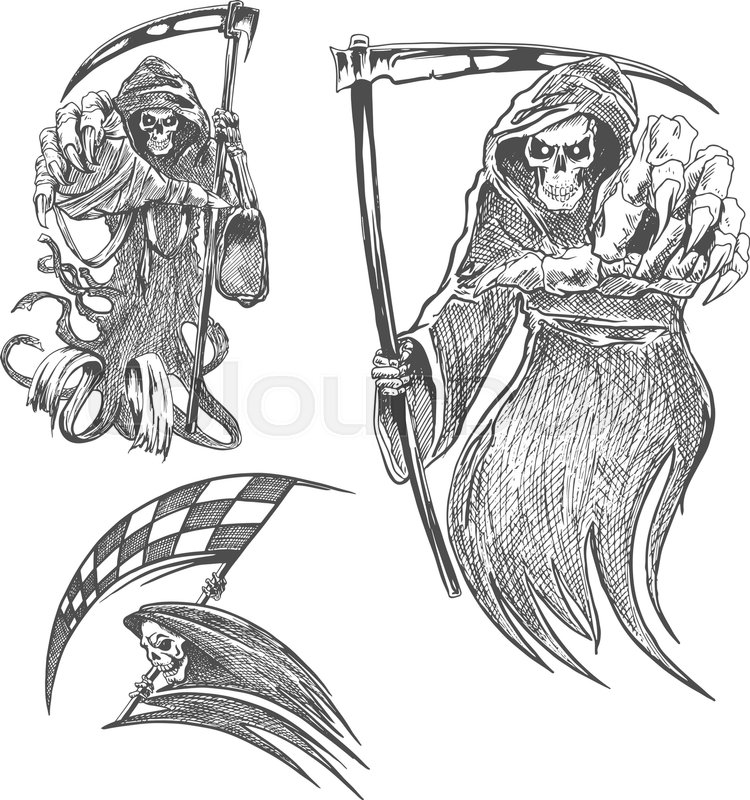 Death with scythe pencil sketch halloween vector icon gothic mortal character sketching for tattoo decoration stock vector colourbox