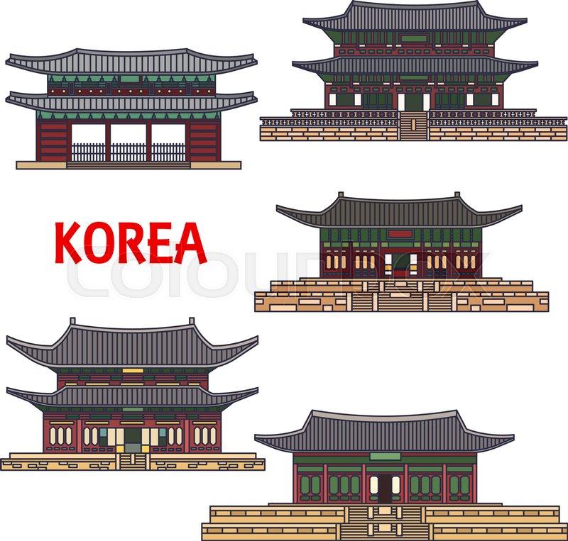 Historic temples of Korea. Vector detailed icons of Haeinsa, Gyeongbokgung, Gyeongbok palace, Namhansanseong, Changdeok, Changdeokgung, Bongeunsa. Korean showplaces symbols for souvenirs, postcards, t-shirts, cups, magnets, vector