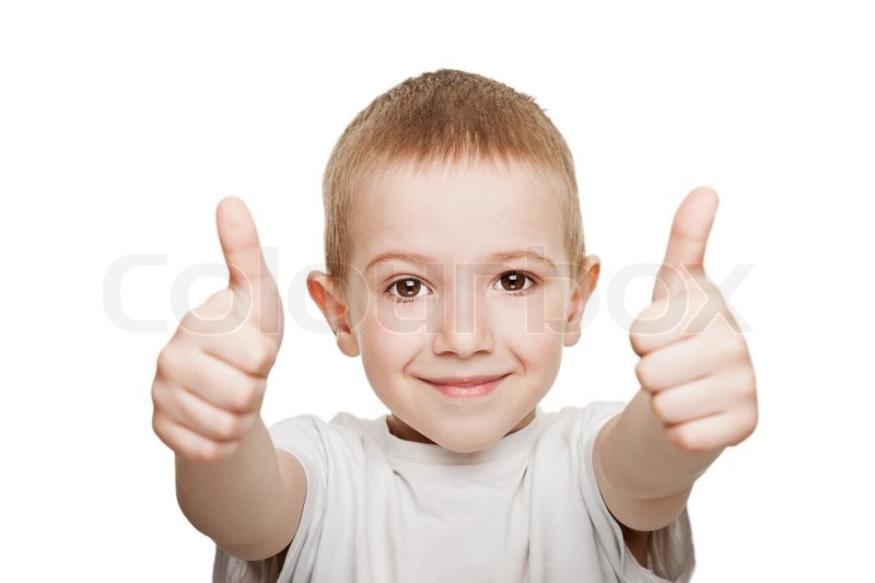 Human Child Hand Gesturing Thumb Up Success Sign Stock