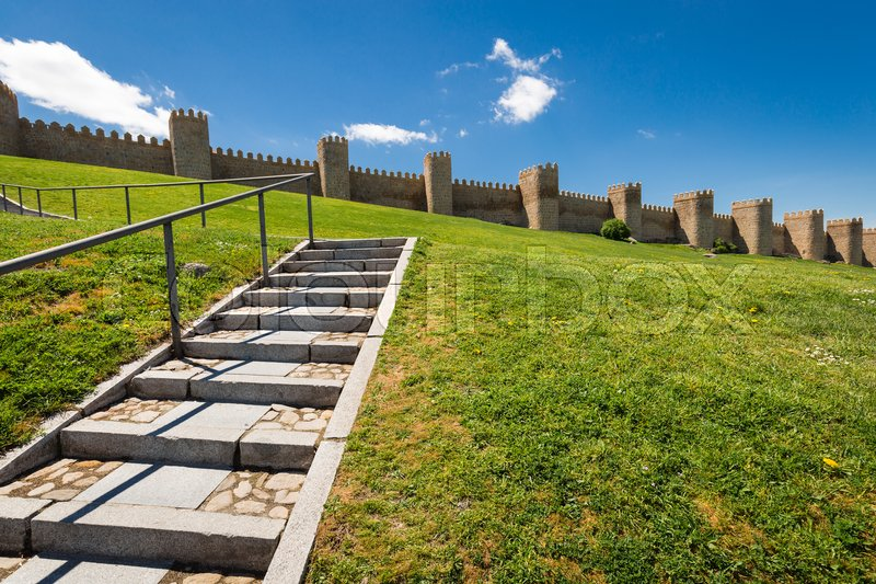 Scenic medieval city walls of Avila, Spain, UNESCO list, stock photo