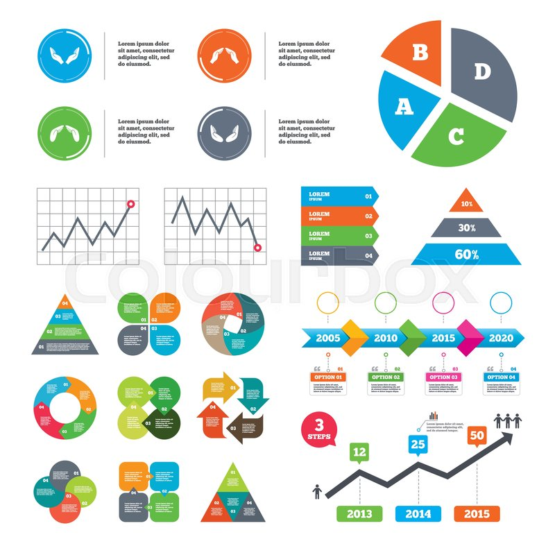 Data Pie Chart And Graphs Hands Icons Insurance Protection Signs