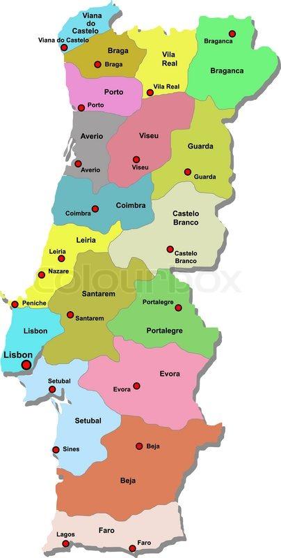 Portugal Map Stock Vector Colourbox