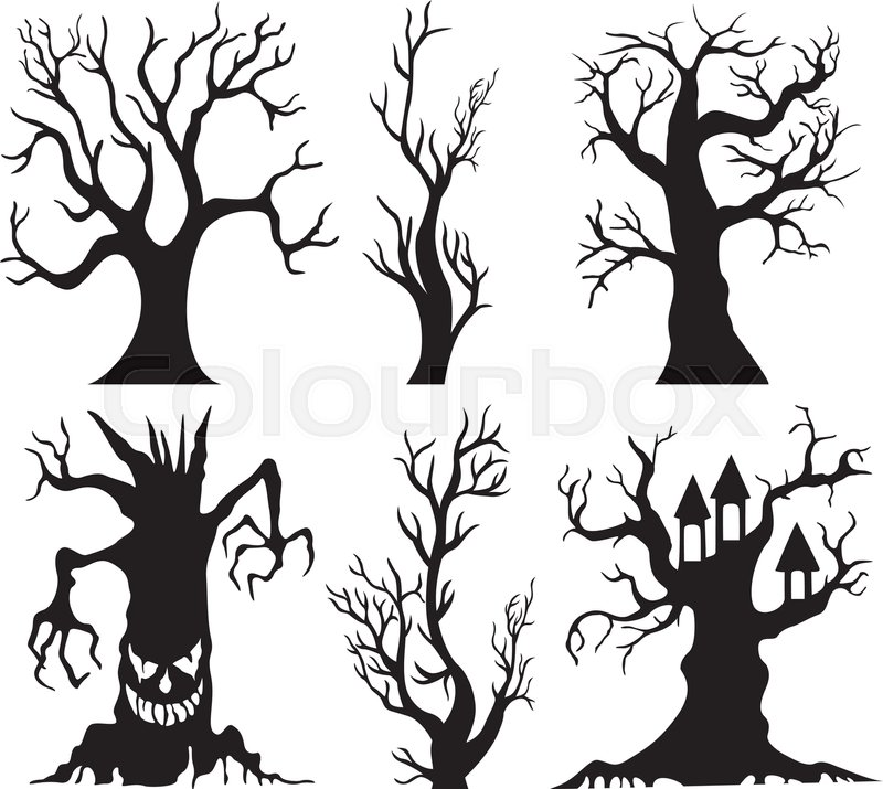 vector illustration of set of spooky halloween tree cartoon stock vector colourbox