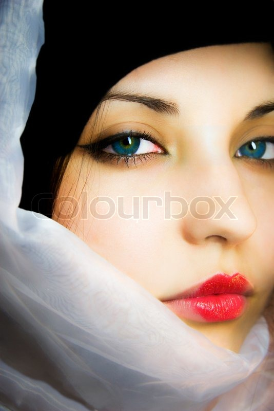 The beautiful girl in a scarf with blue eyes stock photo colourbox voltagebd Image collections