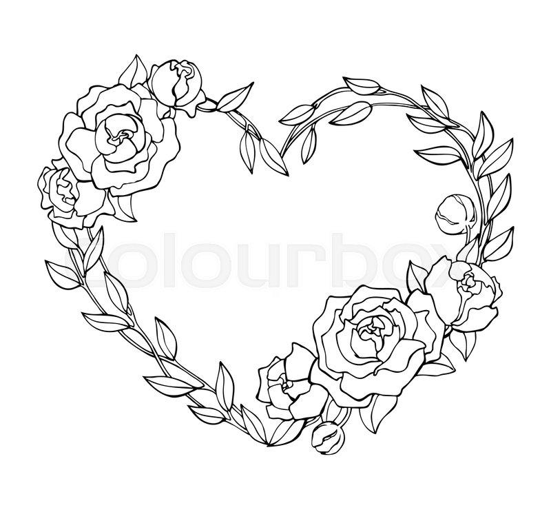 vector hand drawn rose wreath in heart shape illustration great for