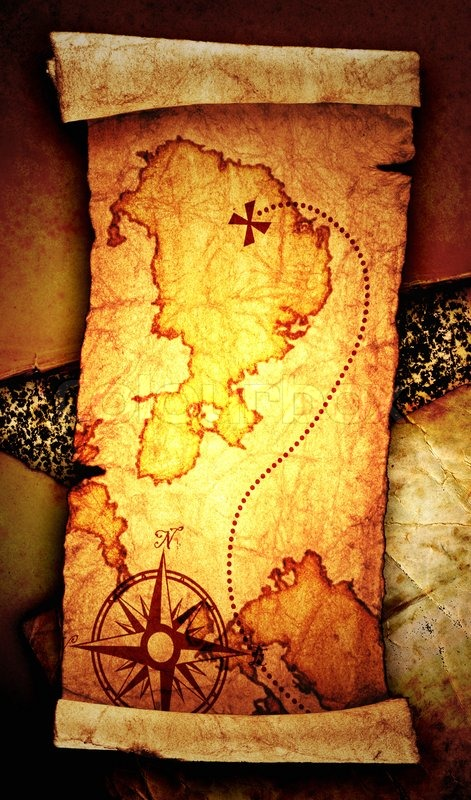 Old treasure map, on a vintage background | Stock Photo ...